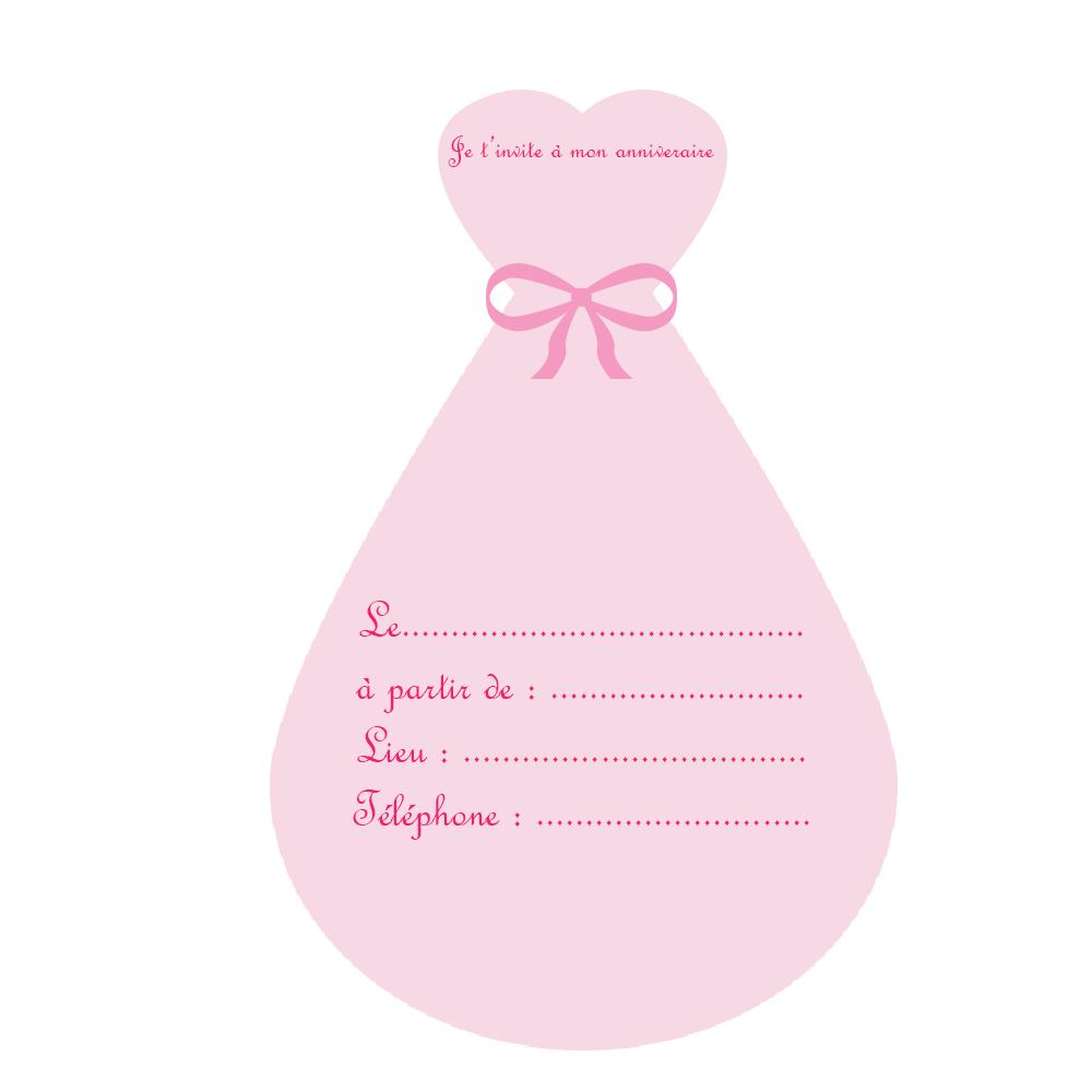 invitation-robe-princess-anniversaire-la-fabricamania- a imprimer-gratuit | La Fabricamania