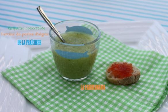 gaspacho de concombre tartine de perles d'algues saveur saumon recette