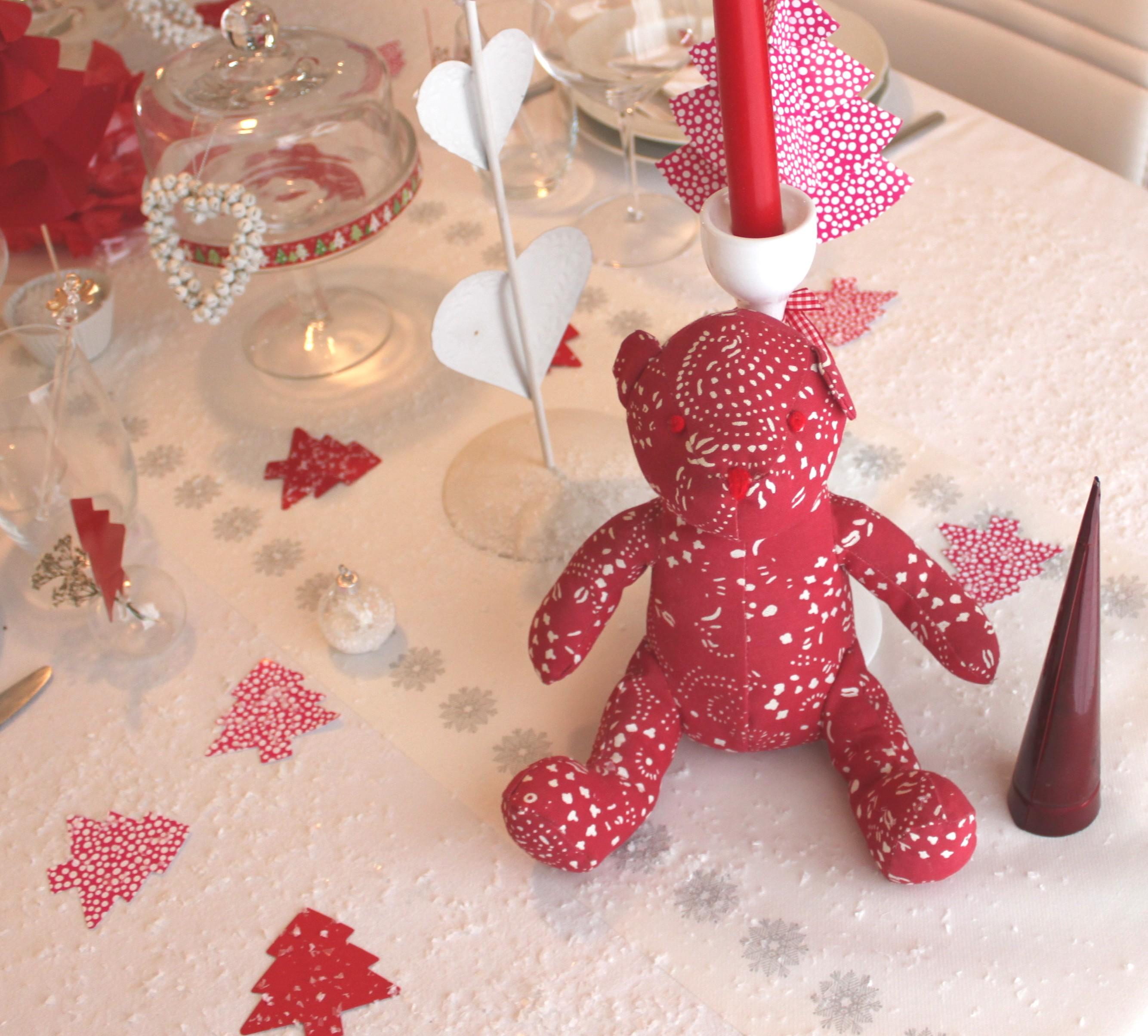 Une table de no l en rouge et blanc la fabricamania - Table de noel rouge et blanc ...