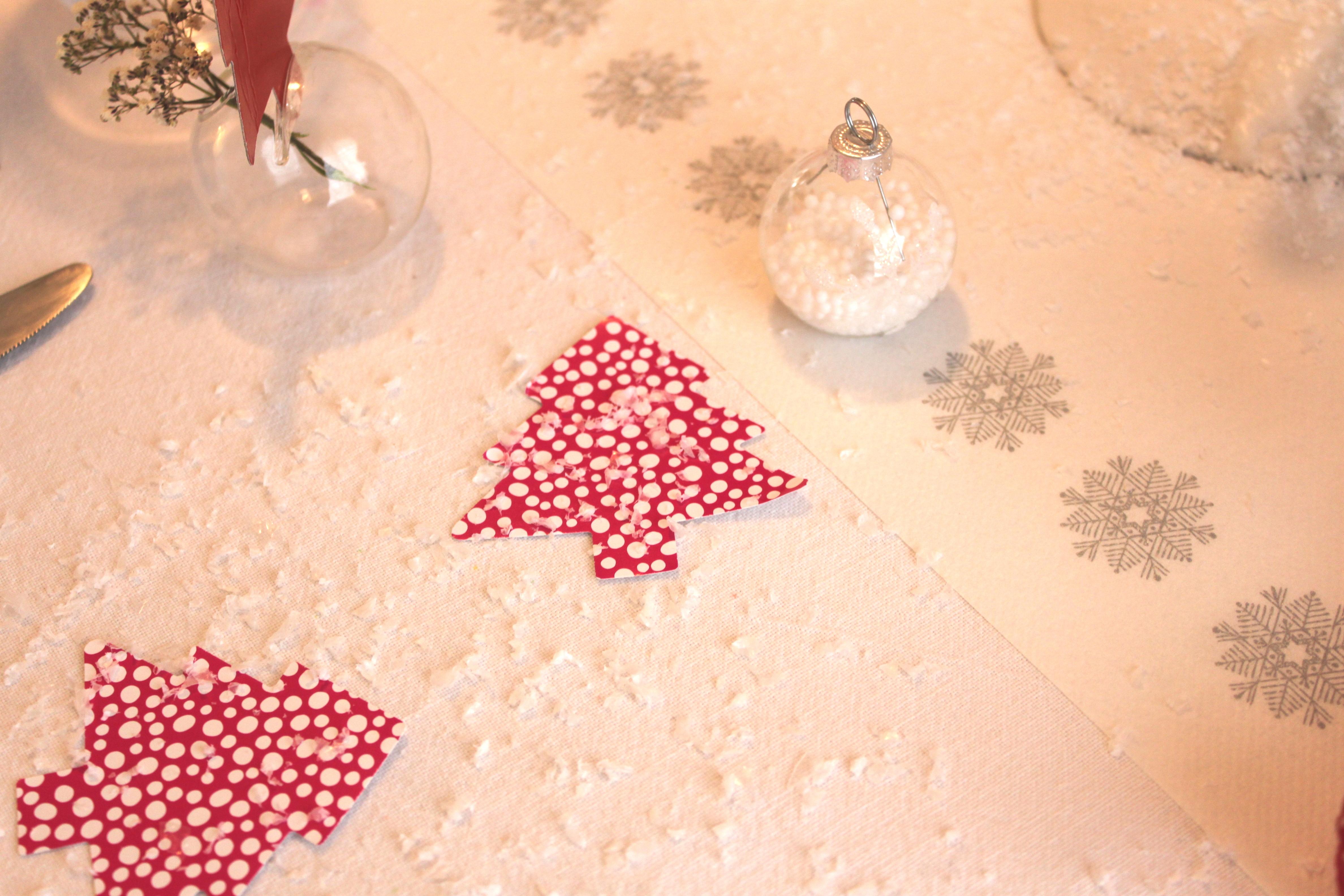 Une table de no l en rouge et blanc la fabricamania - Table de noel rouge ...