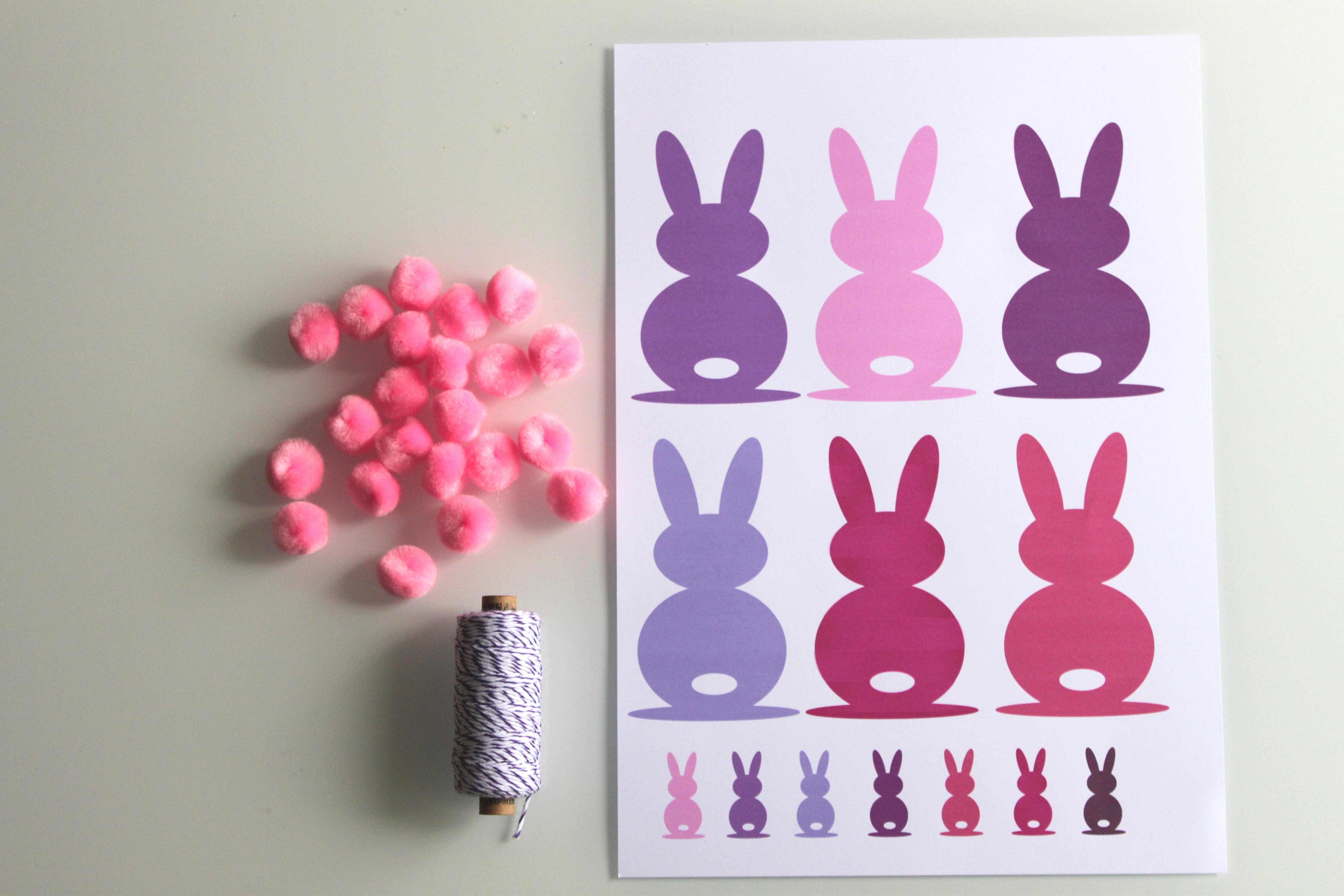 diy p ques guirlande de jolis lapins free printable la fabricamania. Black Bedroom Furniture Sets. Home Design Ideas