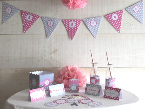 candy bar sweet table gris rose pois bapteme babyshower