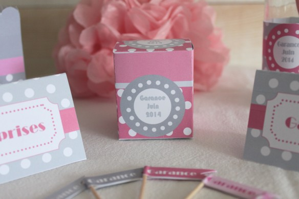 boite dragée candy bar sweet table gris rose pois bapteme babyshower