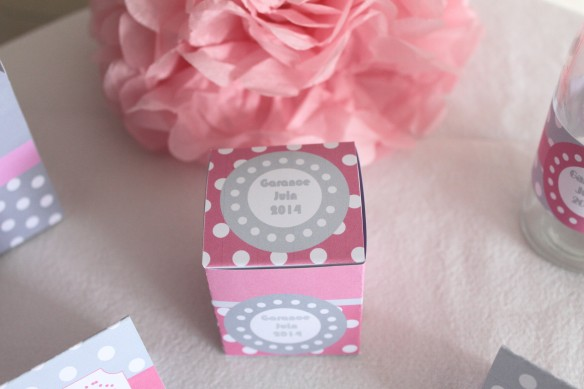 boite dragées candy bar sweet table gris rose pois bapteme babyshower