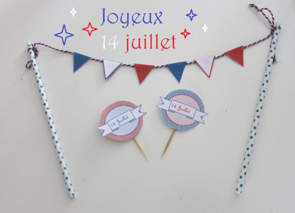 14juillet  free printable toppers fanion guirlande