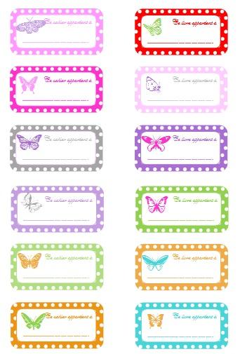étiquettes cahier scolaire rentree papillon
