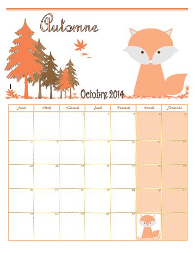 calendrier renard octobre 2014