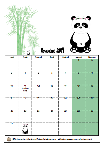 calendrier de novembre free printable gratuit telecharger