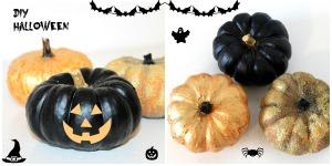 diy-Halloween-peinture-citrouille-noir-or