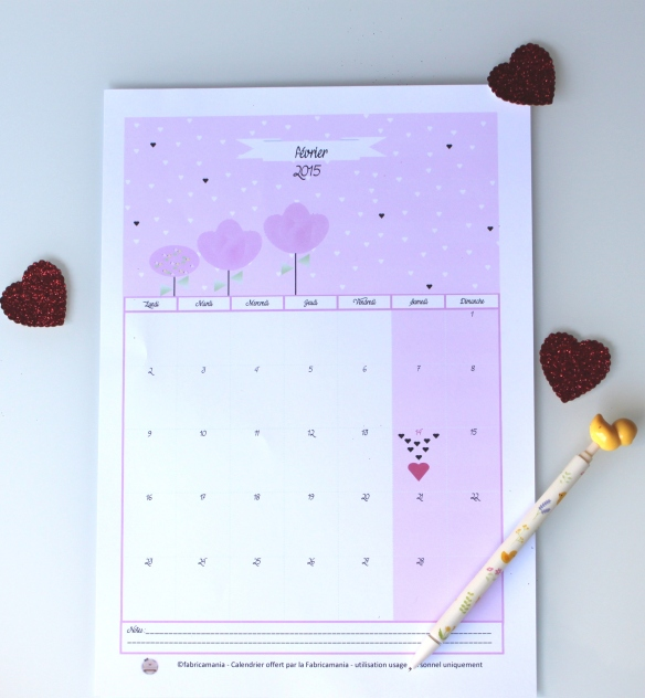 calendrier février free printable