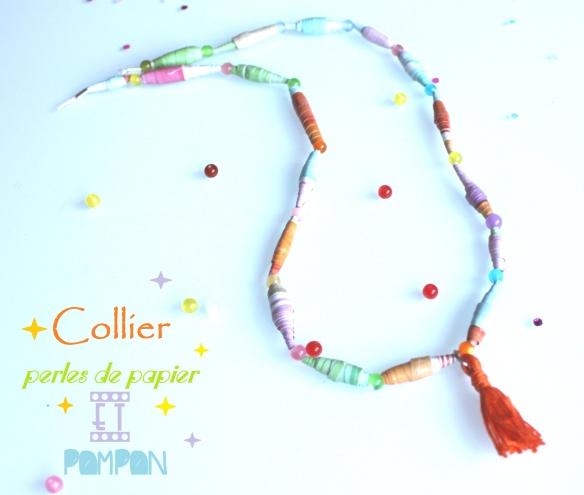 diy collier perles papier et pompon FLOW